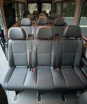 Interior of 14 passenger Mercedes-Benz Sprinter Van operated by 24k Rides in Fort Mill, SC