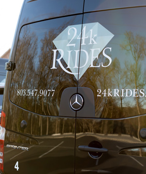 Rear of 14 Passenger Sprinter Van for use in corporate and wedding transportation by 24k Rides in Fort Mill, SC