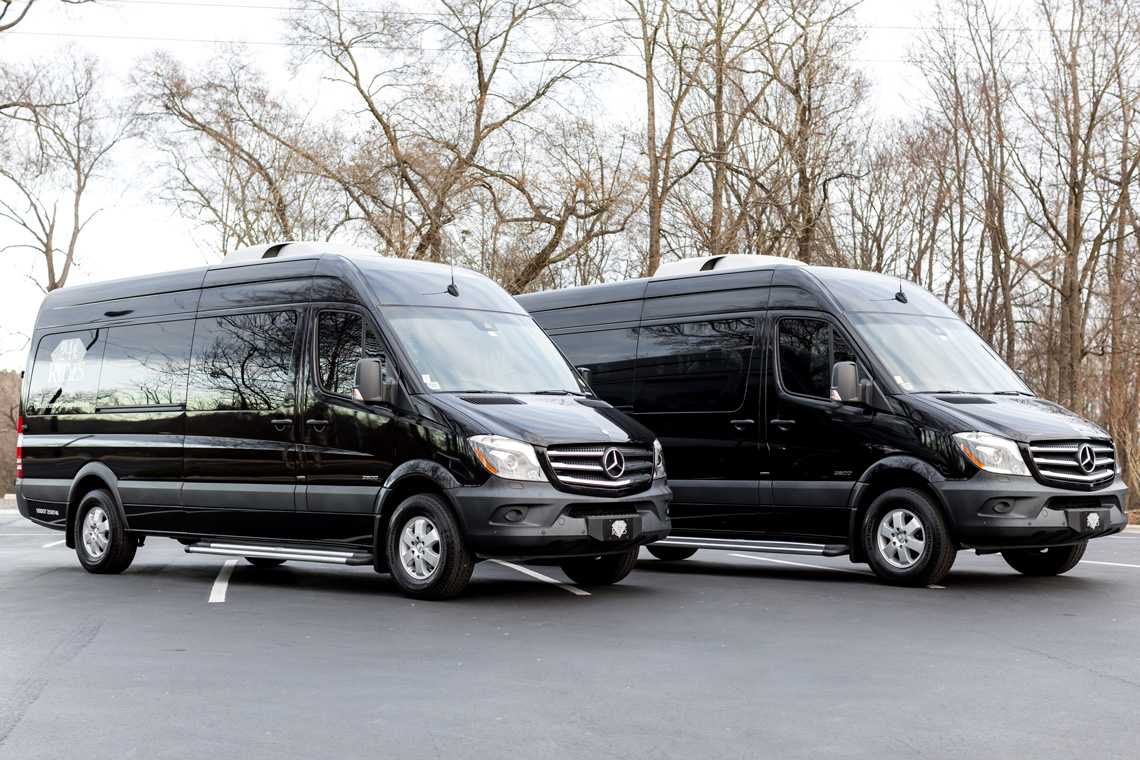 2 14 passenger sprinter vans owned and operated by 24k Rides in Fort Mill, SC
